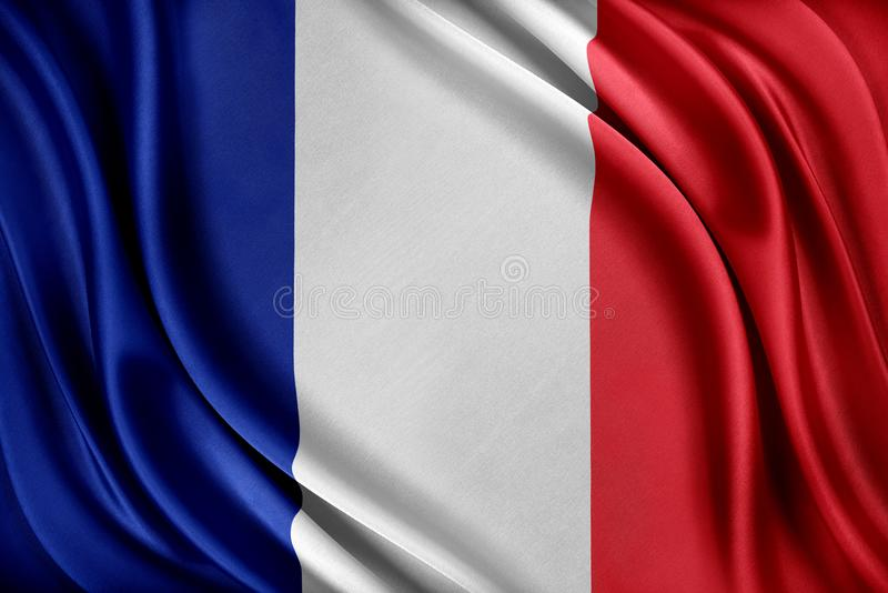 för france för tillgänglig flagga vektor glass stil Flagga med en glansig siden- textur royaltyfri illustrationer