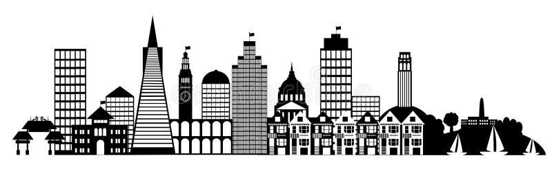 för francisco för konststadsgem san panorama horisont vektor illustrationer