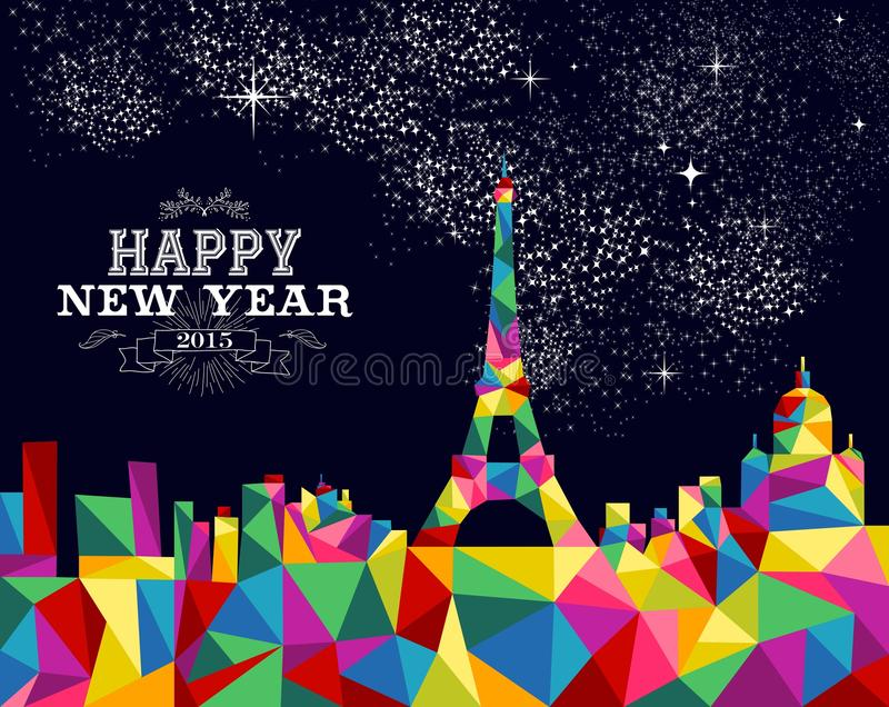 För Frankrike för nytt år design 2015 affisch stock illustrationer