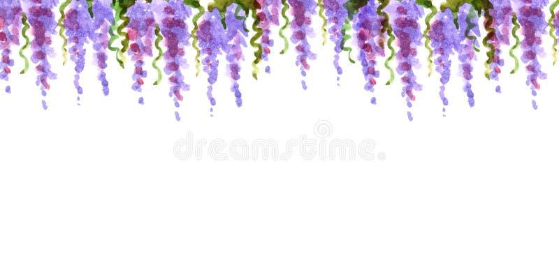 För Frankrike för lavendel för blommor för loach för gräns för vattenfärgskuggaram som bästa dingla rosa färger för kronblad roma vektor illustrationer