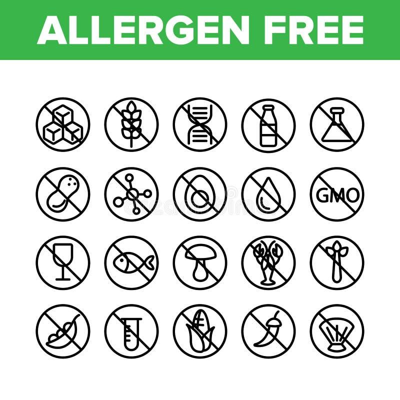 För fri uppsättning för symboler matvektor för allergen linjär vektor illustrationer