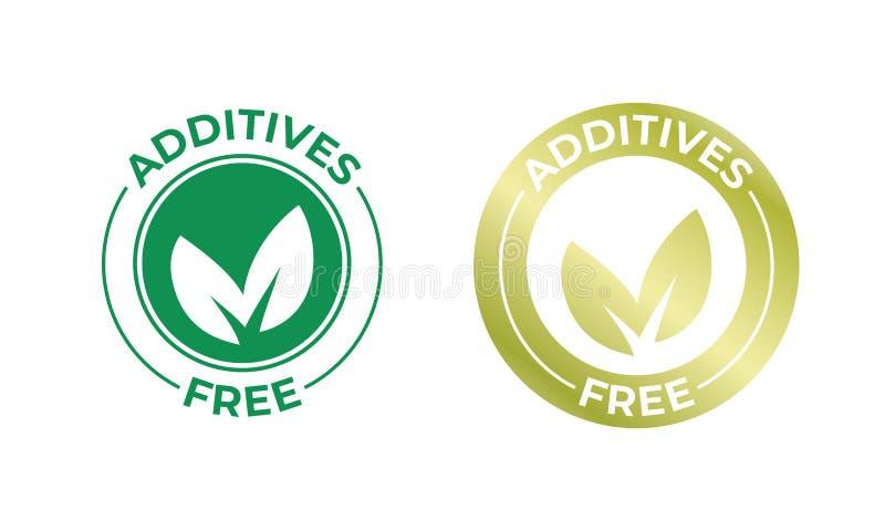 För fritt guld- symbol vektorblad för tillsatser Tillsatser frigör ingen ökad stämpel, naturlig packeskyddsremsa för organisk mat royaltyfri illustrationer