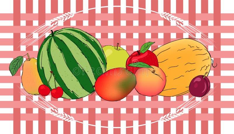 För fruktvektor för tacksägelsefest saftigt baner vektor illustrationer