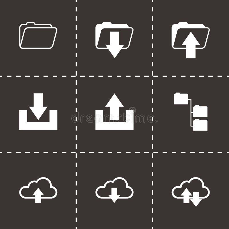 För ftp-symboler för vektor svart uppsättning royaltyfri illustrationer
