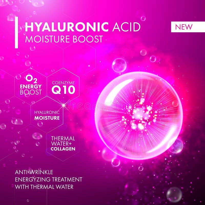 För fuktighetsökning för Hyaluronic syra bubbla för rosa färger för Collagen stock illustrationer