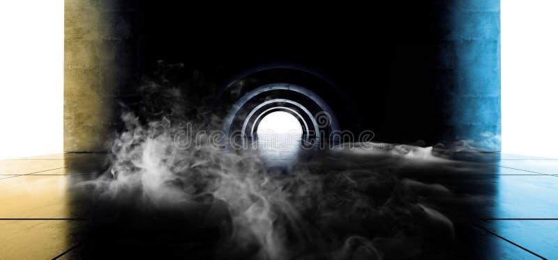 För futuristiskt ovalt ljus för laserstråle cirkelneon för rök glödande blåa gula formade på korridoren för tunnel för konkret Gr vektor illustrationer