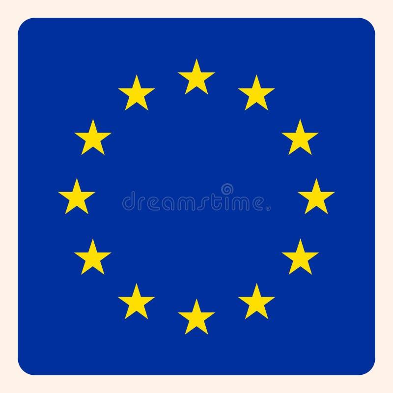 För fyrkantflagga för europeisk union knapp, social massmediakommunikation vektor illustrationer