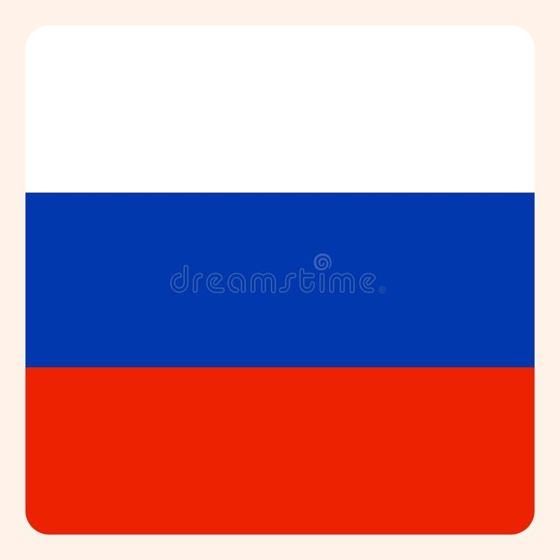 För fyrkantflagga för rysk federation knapp, socialt massmedia royaltyfri illustrationer