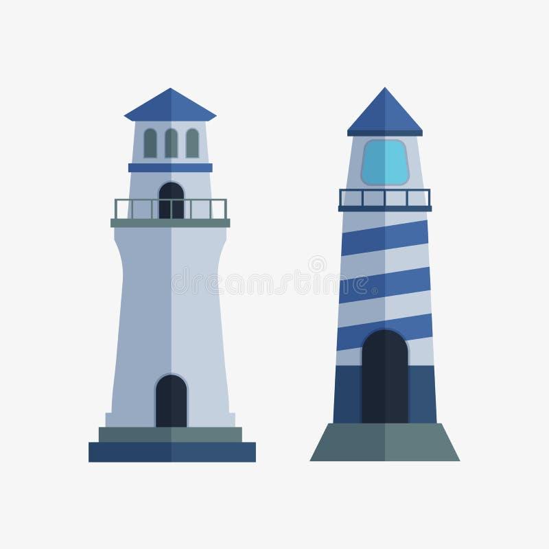 För fyrstrålkastare för tecknad film plant torn för för vägledningsljus för maritim navigering illustration för vektor stock illustrationer