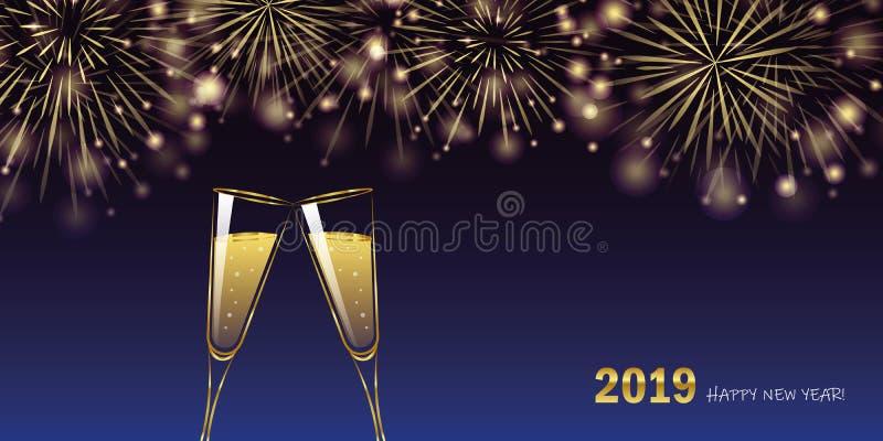 För fyrverkeri- och champagneexponeringsglas för lyckligt nytt år 2019 guld- kort för hälsning royaltyfri illustrationer