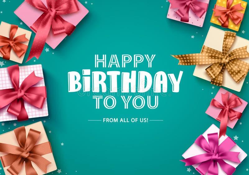 För gåvaaskar för lycklig födelsedag bakgrund för vektor Födelsedaghälsningkort med färgrika gåvaaskar, band stock illustrationer
