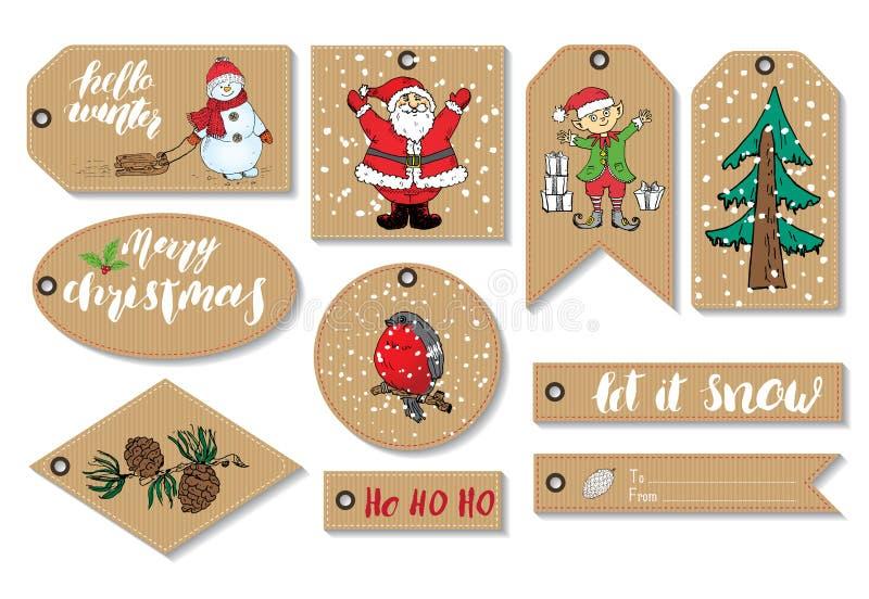 För gåvaetiketter för nytt år och juluppsättning Den drog handen skissar mallen för hälsningkort med festliga beståndsdelar för k royaltyfri illustrationer