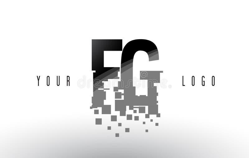 För G-PIXEL för FG F logo för bokstav med Digital splittrade svarta fyrkanter vektor illustrationer