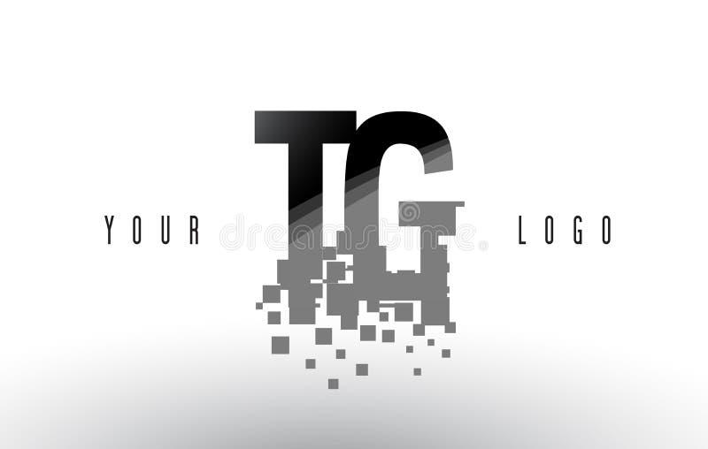 För G-PIXEL för TG T logo för bokstav med Digital splittrade svarta fyrkanter vektor illustrationer