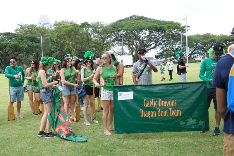 För Gaelic Dragon för dag för St Patrick ` s sammankomst lag på kejsarinnagräsmatta i Singapore royaltyfri bild