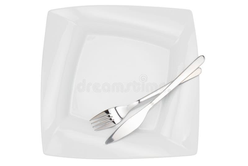 för gaffelkniv för maträtt övre sikt för tom fyrkant arkivbilder
