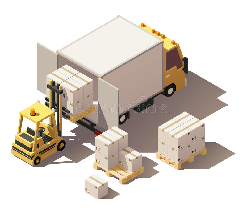 För gaffeltruckpäfyllning för vektor isometrisk lastbil för ask med spjällådor på palettsymbol royaltyfri illustrationer