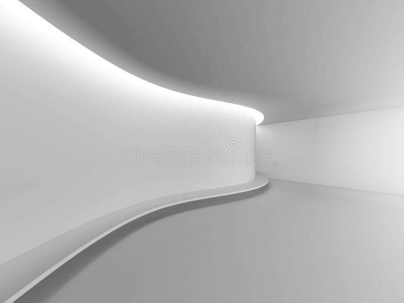 För galleriöppet utrymme för vitt tomt rum idérik modern kurva för utställning royaltyfri illustrationer