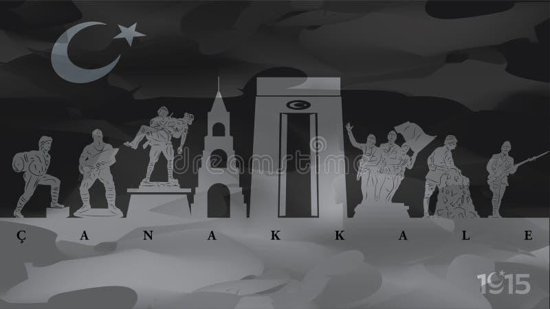 För Gallipoli för mars 18 dag seger och martyrminne stock illustrationer