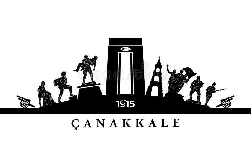 För Gallipoli för mars 18 dag seger och martyrminne royaltyfri illustrationer