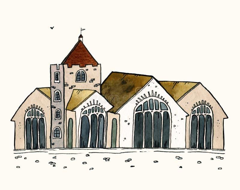 För gammal illustration för vattenfärg stadhand för Cityscape utdragen Gammalt stadslandskap med tornet, hus, träd Grungefärgpulv royaltyfri illustrationer