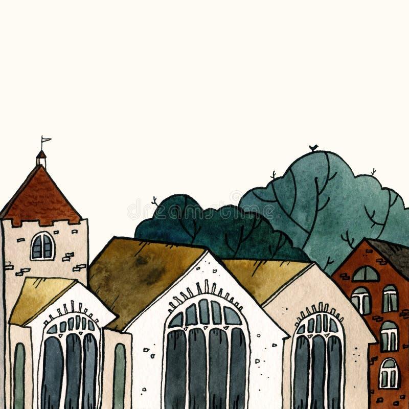 För gammal illustration för vattenfärg stadhand för Cityscape utdragen Gammalt stadslandskap med tornet, hus, träd Grungefärgpulv arkivfoto