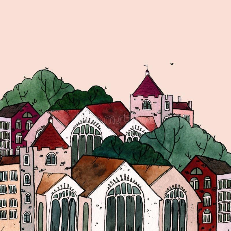 För gammal illustration för vattenfärg stadhand för Cityscape utdragen Gammalt stadslandskap med tornet, hus, träd Grungefärgpulv stock illustrationer