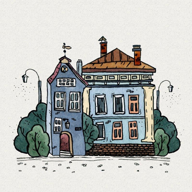 För gammal illustration för vattenfärg stadhand för Cityscape utdragen Gammalt stadslandskap med tornet, hus, träd Grungefärgpulv vektor illustrationer
