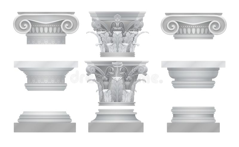 För gammalgrekiskaroma för vektor realistisk uppsättning för huvudstäder kolonn vektor illustrationer