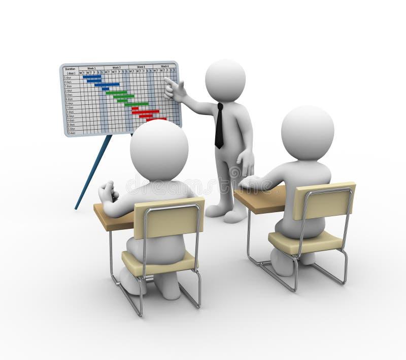 för gantt för affärsman 3d presentation diagram stock illustrationer