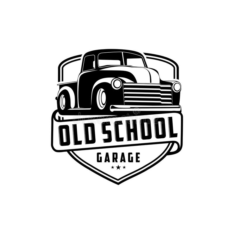 För garagelastbil för gammal skola vektor för logo royaltyfri illustrationer