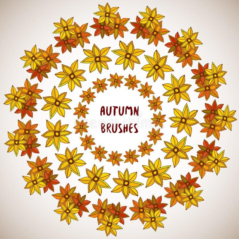 för garneringdruvor för höst kastanjebrunt för oktober trä pomegranate Blommor sidaramuppsättning Vektorgränser, prydnad Borstar  royaltyfri illustrationer