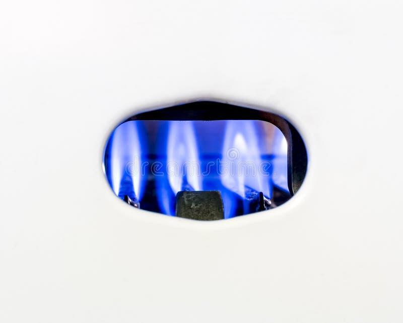För gasdysa för brand brinnande värmeapparat för vatten för gas arkivbilder