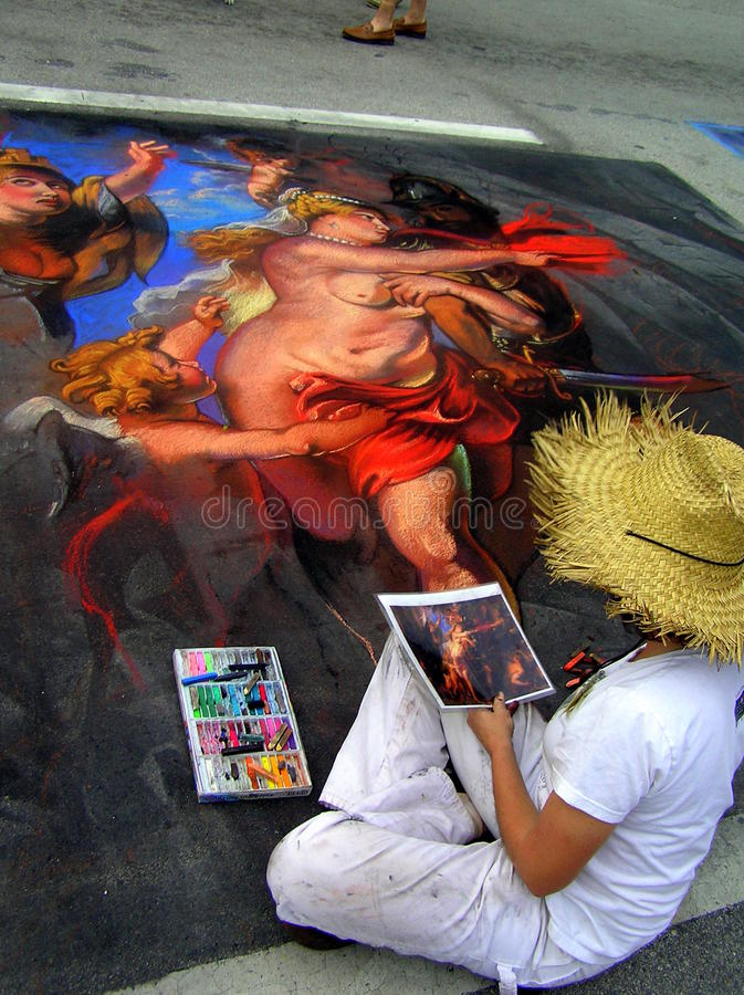 För gatamålning för årlig Lake värd festival. Florida royaltyfria foton