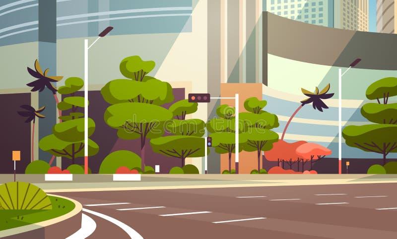 För gataskyskrapa för stad tom i stadens centrum horisontallägenhet för tom för byggnader för väg cityscape för sikt modern stock illustrationer