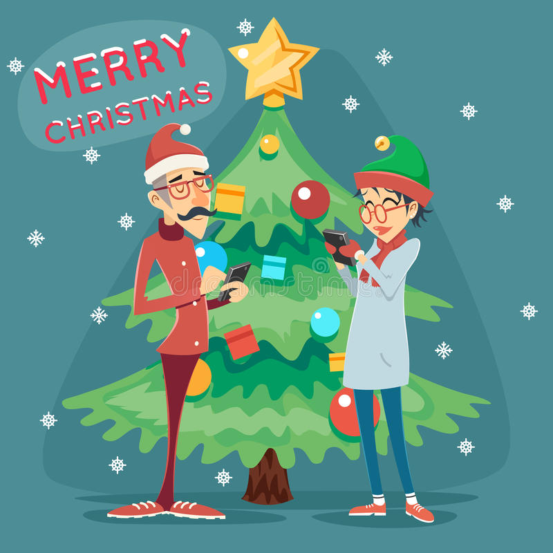 För GeekHipster för julgran lycklig le symbol för pratstund för manligt kvinnligt symbol online-mobil på Retro tecknad film för s royaltyfri illustrationer