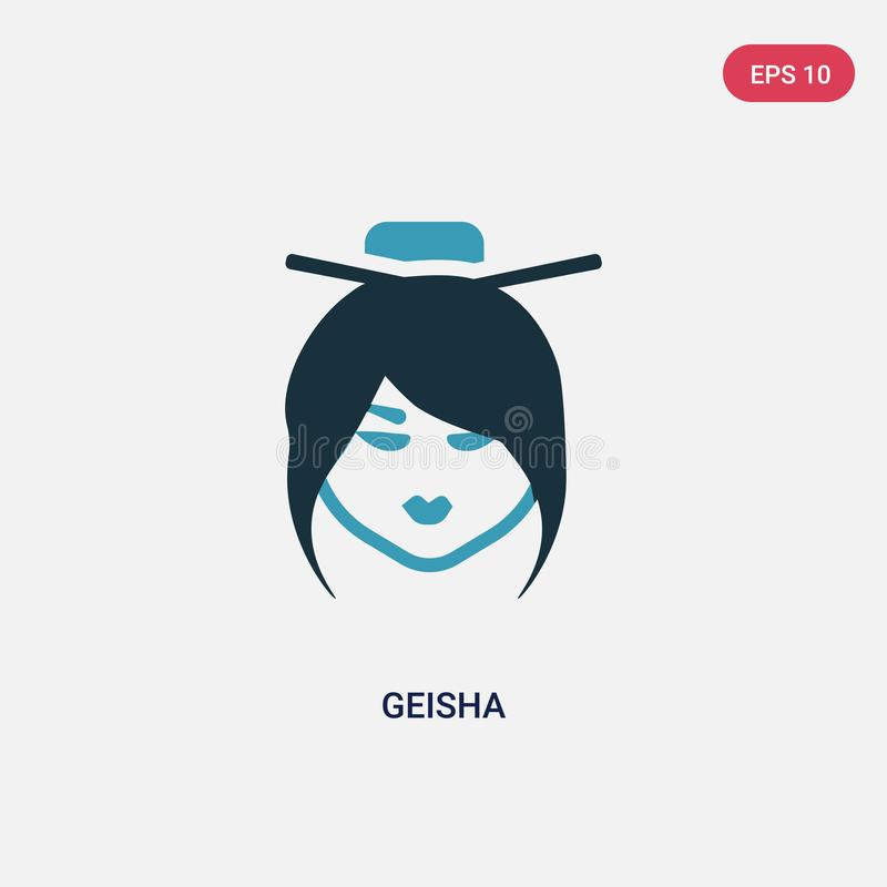 För geishavektor för två färg symbol från smileysbegrepp det isolerade blåa symbolet för geishavektortecknet kan vara bruk för re stock illustrationer