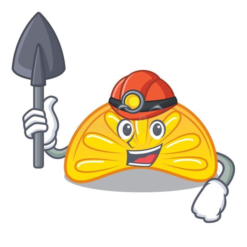 För gelégodis för gruvarbetare orange tecknad film för maskot vektor illustrationer