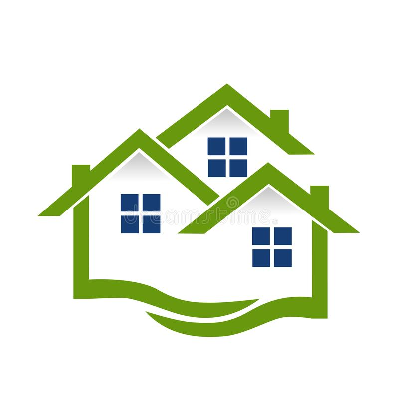För gemenskapmodell för gröna hus abstrakt begrepp, fastighetlogovektor stock illustrationer