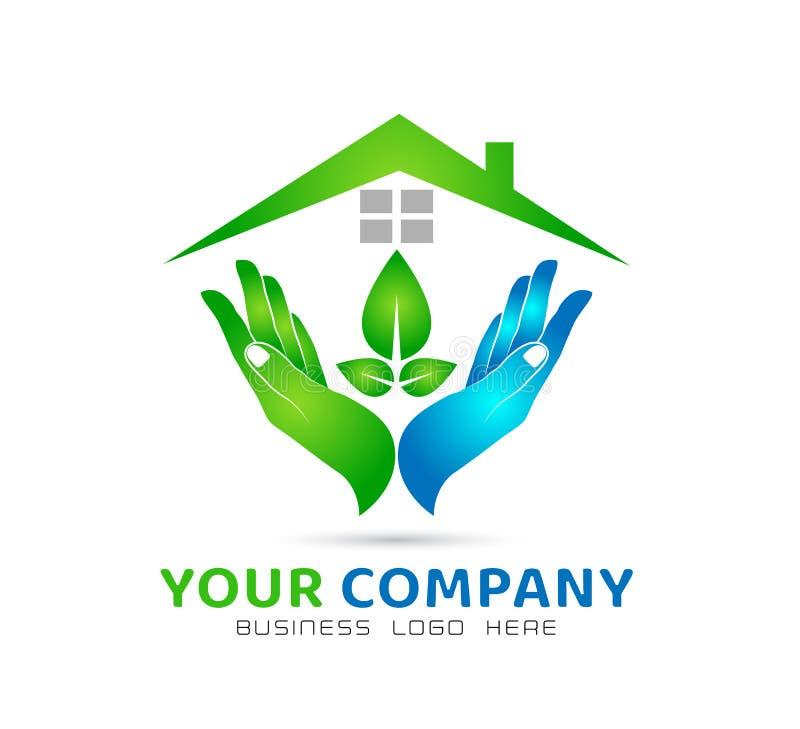 För gemenskapmodell för grönt hus abstrakt begrepp, blad i vektor för handfastighetlogo royaltyfri illustrationer