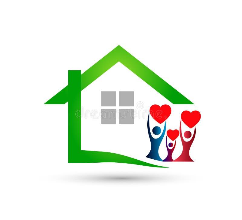 För gemenskapmodell för grönt hus abstrakt begrepp, vektor för familjfastighetlogo stock illustrationer
