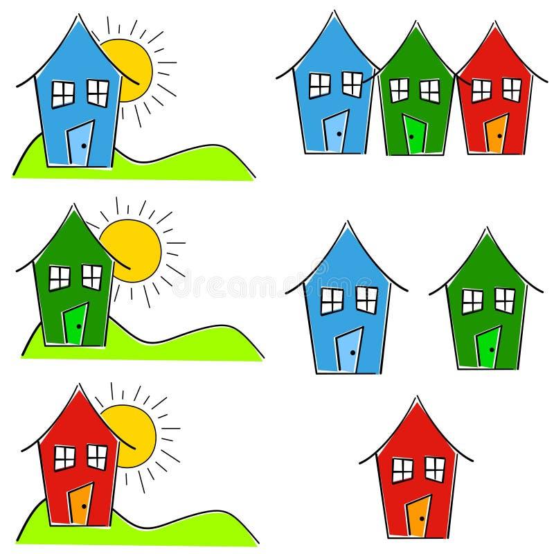 för gemutgångspunkt för konst lik ett barn hus stock illustrationer