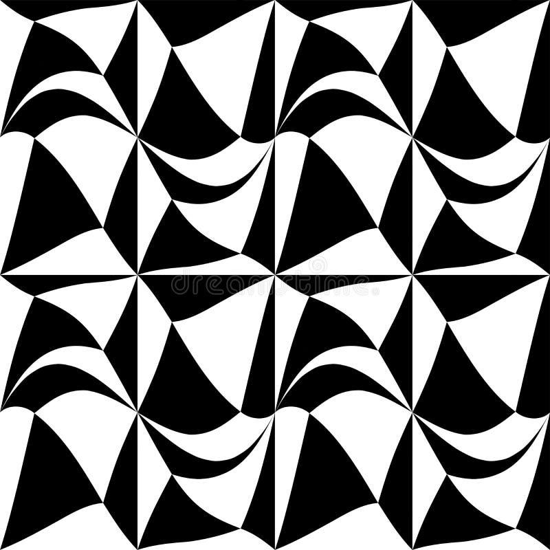 För geometrifyrkant för vektor modern abstrakt modell svartvit sömlös geometrisk bakgrund stock illustrationer
