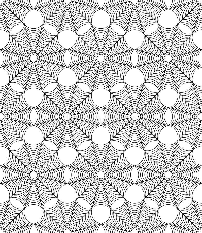För geometrimodell för vektor modern sömlös rengöringsduk för spindel halloween, svartvitt abstrakt begrepp vektor illustrationer