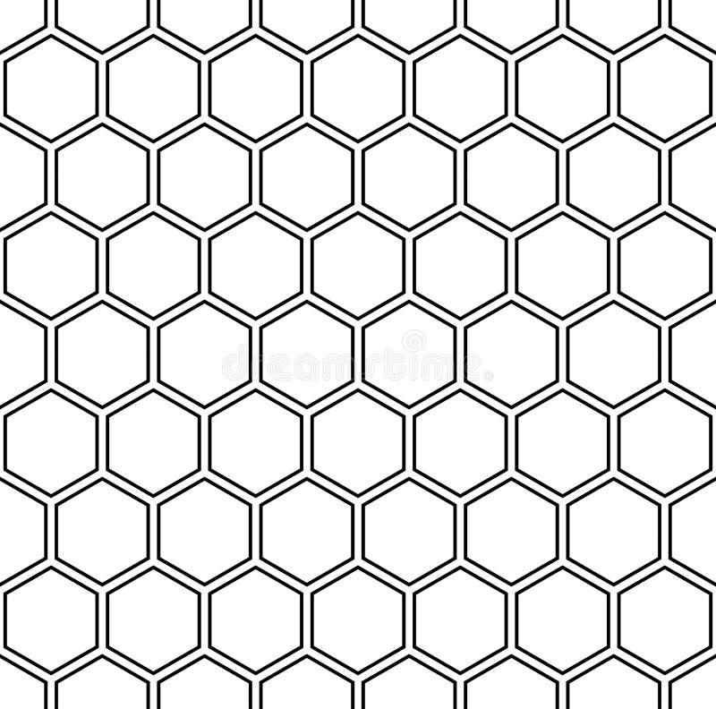 För geometrimodell för vektor modern sömlös sexhörning, svartvitt honungskakaabstrakt begrepp royaltyfri illustrationer