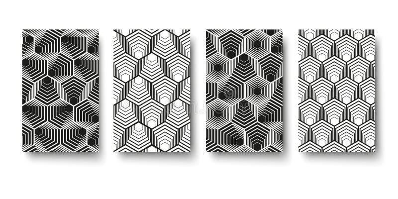 För geometrimodell för vektor modern sexhörning, abstrakt geometrisk bakgrund, moderiktigt tryck, monokrom retro textur, hipsterm royaltyfri illustrationer