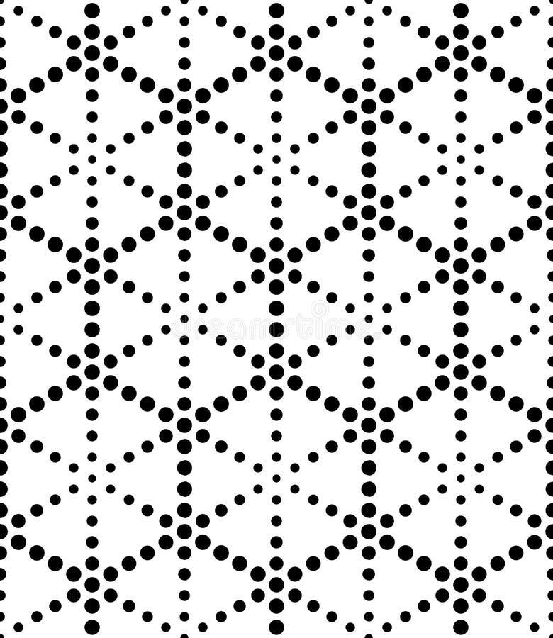 För geometrimodell för vektor moderna sömlösa sakrala prickar, svartvitt abstrakt begrepp royaltyfri illustrationer