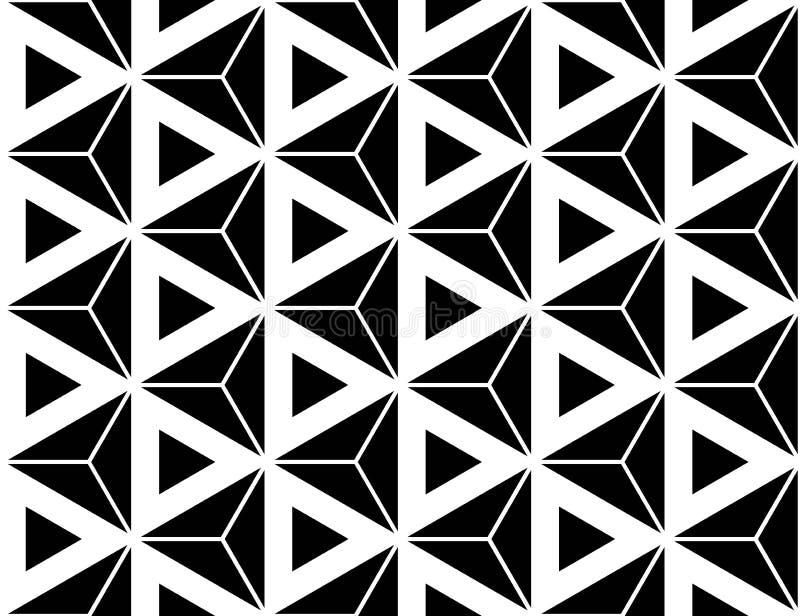 För geometrimodell för vektor moderna sömlösa sakrala trianglar för sexhörning, svartvitt abstrakt begrepp royaltyfri illustrationer