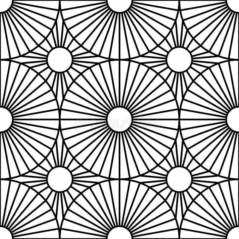 För geometrimodell för vektor modernt sömlöst mål, svartvitt abstrakt begrepp vektor illustrationer