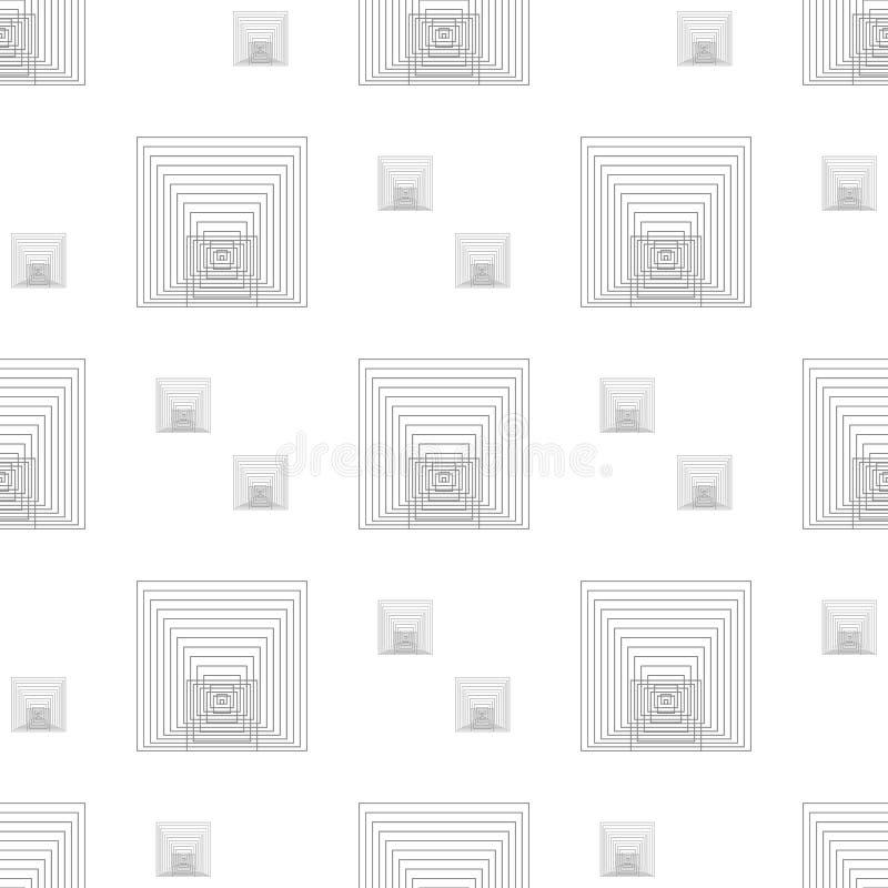 För geometrimodell för vektor modern sömlös linje fyrkanter, abstrakt geometrisk bakgrund för svart, monokrom retro textur stock illustrationer